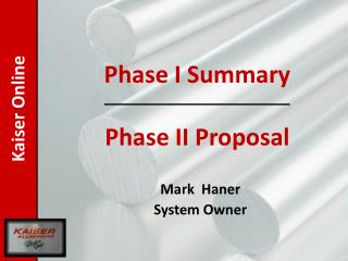 Mark   Haner System Owner