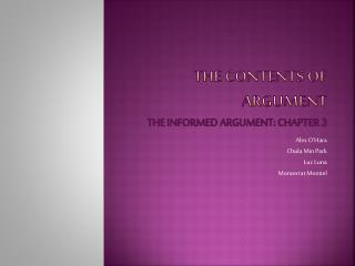 the contents of argument  the informed argument: chapter 3