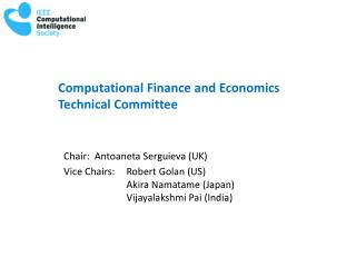 Computational Finance and Economics  Technical Committee