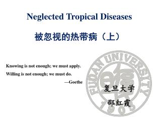 Neglected Tropical Diseases 被忽视的热带病(上)