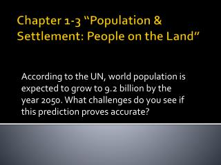 "Chapter 1-3 ""Population & Settlement: People on the Land"""