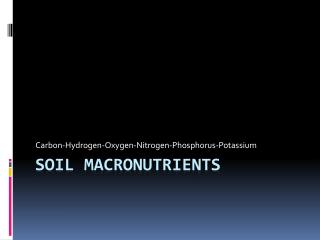Soil Macronutrients