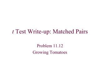 t Test Write-up: Matched Pairs