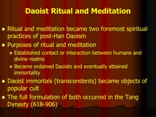 Daoist Ritual and Meditation