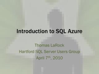 Introduction to SQL Azure