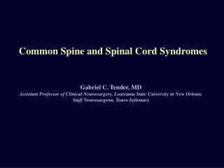 Common Spine and Spinal Cord Syndromes