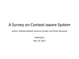 A Survey on Context-aware System