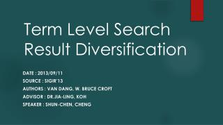 Term Level Search Result Diversification