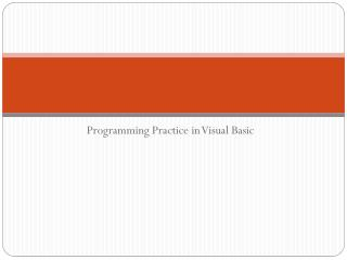 Programming Practice in Visual Basic