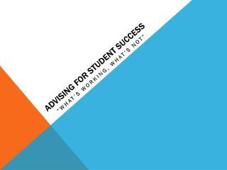 Advising for Student Success