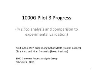 1000G Pilot 3  Progress ( in  silico analysis and comparison to experimental  validation)