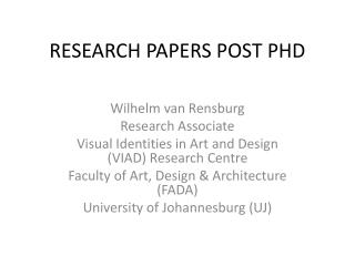 RESEARCH PAPERS POST PHD