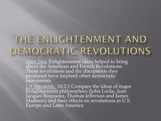 The Enlightenment and Democratic Revolutions