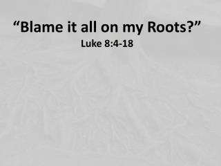 """""""Blame  it  all on my Roots?"""" Luke 8:4-18"""