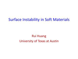 Surface Instability in Soft  M aterials