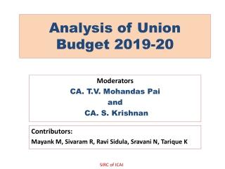 Analysis of Union Budget 2019-20