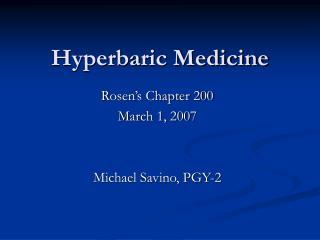 Hyperbaric Medicine