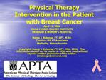 Physical Therapy Intervention in the Patient with Breast Cancer