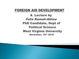 FOREIGN AID DEVELOPMENT