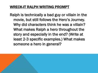 Wreck-it Ralph writing prompt