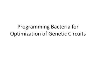 Programming Bacteria for Optimization of Genetic Circuits