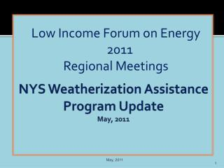 NYS Weatherization Assistance Program Update May, 2011