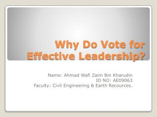 Why Do Vote for Effective Leadership?