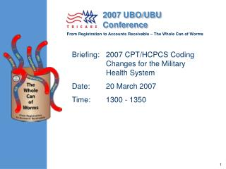 Briefing:   2007 CPT/HCPCS Coding Changes for the Military Health System	 Date:	20 March 2007 Time:	1300 - 1350