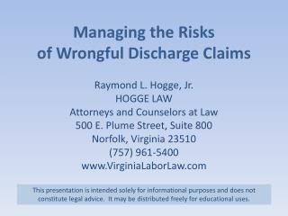 Managing the Risks of Wrongful Discharge Claims