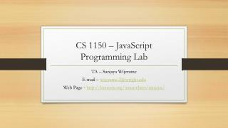 CS 1150  – JavaScript Programming Lab