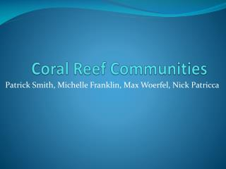 Coral Reef Communities