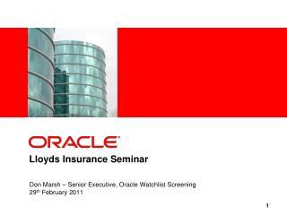 Lloyds Insurance Seminar