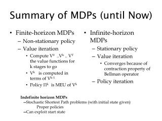 Summary of MDPs (until Now)