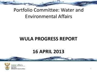 Portfolio Committee: Water and Environmental Affairs