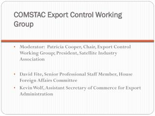 COMSTAC Export Control Working Group