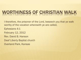 Worthiness of Christian Walk