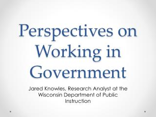 Perspectives on Working in Government
