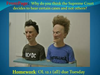 Homework : OL 12.1 (all) due Tuesday