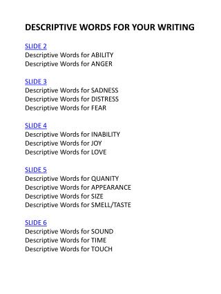 DESCRIPTIVE WORDS FOR YOUR WRITING SLIDE 2 Descriptive Words for  ABILITY