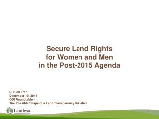 Secure Land Rights for Women and Men  in the Post-2015 Agenda