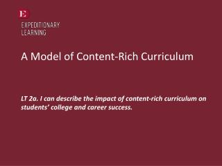 A Model of Content-Rich Curriculum
