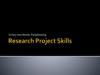Research Project Skills