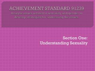 Section One: Understanding Sexuality