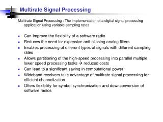 PPT - Multirate Signal Processing PowerPoint Presentation