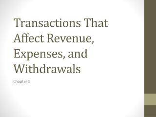 Transactions That Affect Revenue, Expenses, and Withdrawals