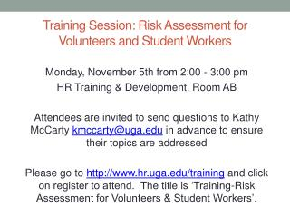 Training  Session: Risk Assessment for Volunteers and Student Workers