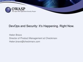 DevOps and Security: It's Happening. Right Now .