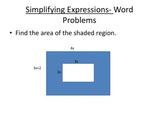 Simplifying Expressions-  Word Problems