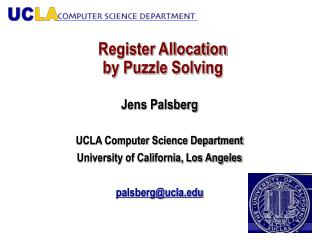 Register Allocation  by Puzzle Solving
