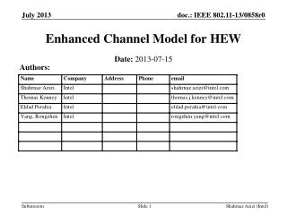 Enhanced Channel Model for HEW